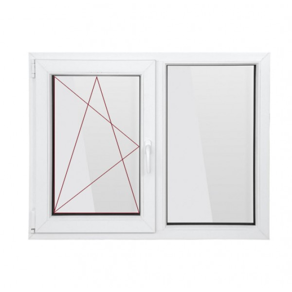 Fereastra PVC cu geam termopan, profil BASTION 70 - 5 camere izolare, alb, 100x100 cm, 1 canat fix, 1 canat oscilobatant, deschidere stanga