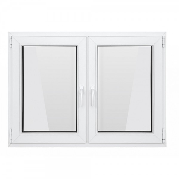 Fereastra PVC cu geam termopan, 116x116 cm, 2 canate, profil Bastion, 5 camere, 70 mm, ambele canate cu deschidere simpla, alb