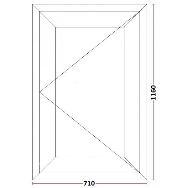 Fereastra PVC cu geam termopan, 71x116 cm, 1 canat, profil Bastion, 5 camere, 70 mm, deschidere simpla, dreapta, alb