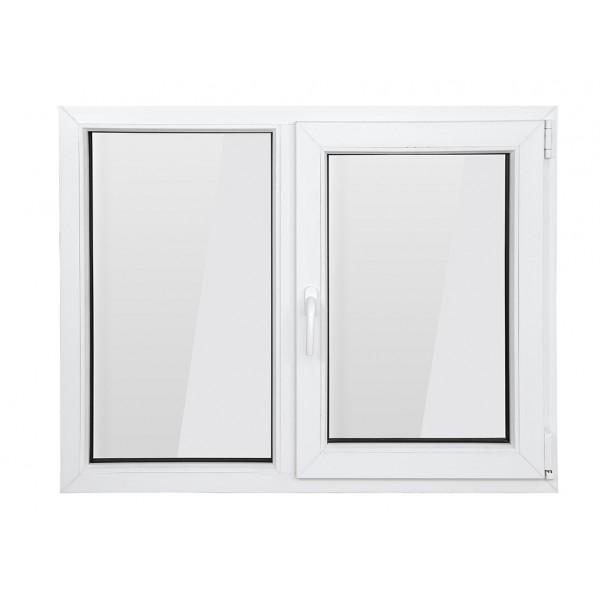 Fereastra PVC cu geam termopan, profil BASTION 70 - 5 camere izolare, alb, 100x100 cm, 1 canat fix, 1 canat oscilobatant, deschidere dreapta