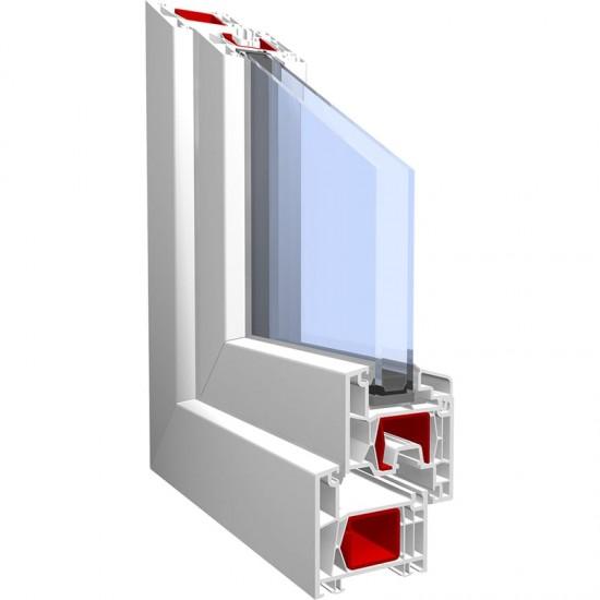 Fereastra PVC cu geam termopan, profil BASTION 70 - 5 camere izolare, alb, 120x120 cm, 1 canat fix, 1 canat oscilobatant, deschidere stanga