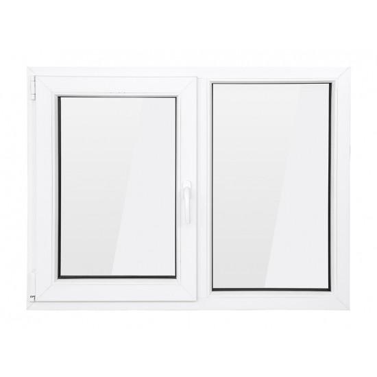 Fereastra PVC cu geam termopan, profil BASTION 70 - 5 camere izolare, alb, 146x116 cm, 1 canat fix, 1 canat oscilobatant, deschidere stanga