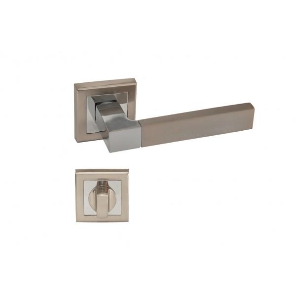 Maner Premium SN APOLLO cu incuietoare de baie E8-T3, culoare nichel satinat/crom