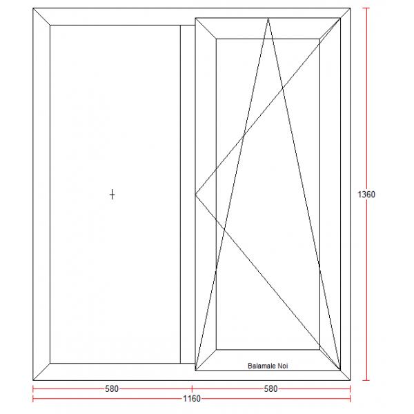 Fereastra PVC cu geam termopan, profil BASTION 70 - 5 camere izolare, alb, 116x136 cm, 1 canat fix, 1 canat oscilobatant, deschidere dreapta