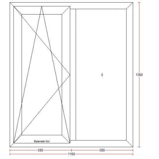 Fereastra PVC cu geam termopan, profil BASTION 70 - 5 camere izolare, alb, 116x136 cm, 1 canat fix, 1 canat oscilobatant, deschidere stanga