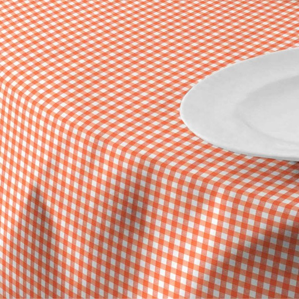 Menorca tablecloth, checked pattern, cotton + polyester, white + red, 160 x 120 cm